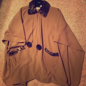 Jackets & Blazers - Le Moda fleece poncho tan and leopard